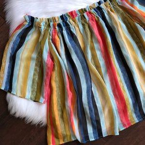 New York & Co Stripe Multicolor off Shoulder Top L